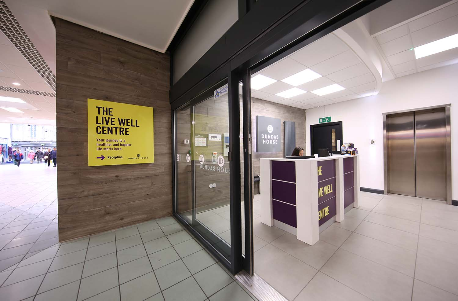 An photo of the entrance to the Live Well Centre